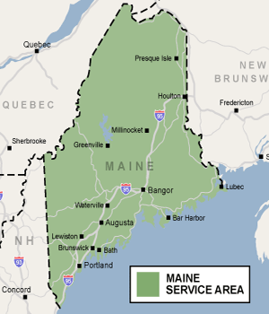 Our Maine service area map, showing our services in Portland, Lewiston, Augusta, Old Town, and nearby